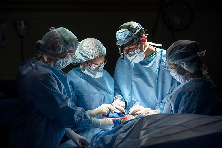 Surgery team members perform a procedure